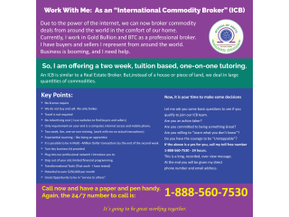 """Work With Me: As an """"International Commodity Broker"""" (ICB)"""